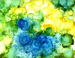 Cellular alcohol ink on Yupo