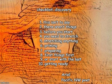 Checklist Discovery poem by  Ariel