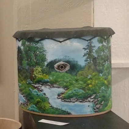 Three Pools, acrylic and leather on wooden drum