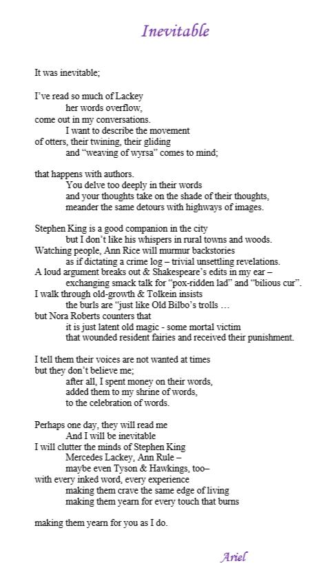 Inevitable by Pacific NW poet Ariel