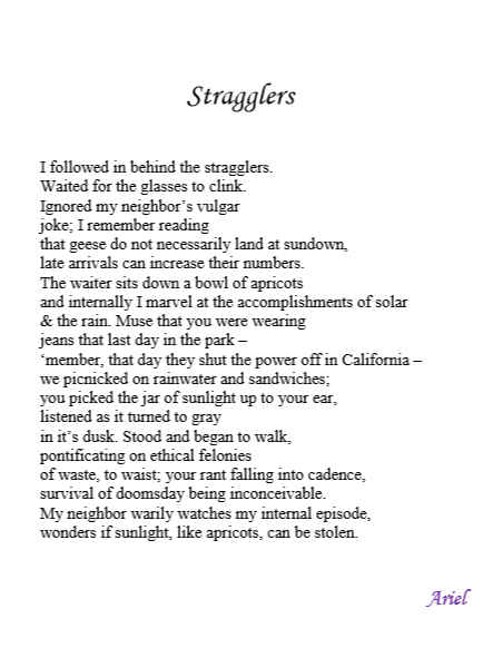 Stragglers poem by Ariel