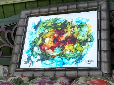 Within 25x21 alcohol ink & resin on mirror [In Private Collection}