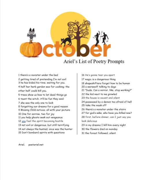 Ariel's List Of Poetry Prompts October 2018