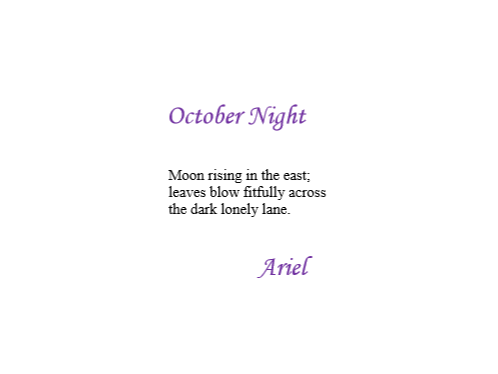 October Night by Ariel