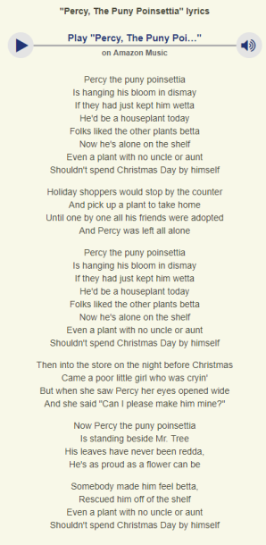 Percy the Punt Poinsettia lyrics