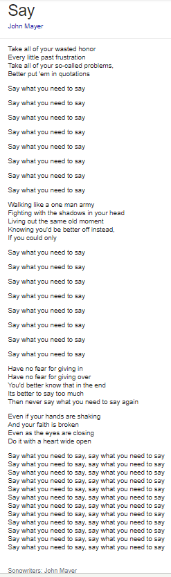 Say lyrics