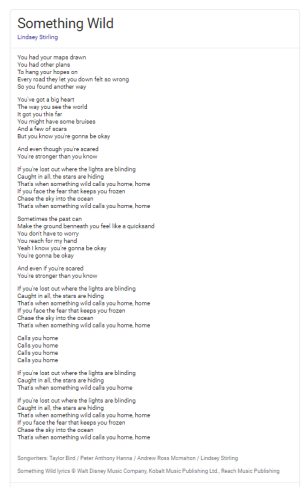 Something Wild lyrics