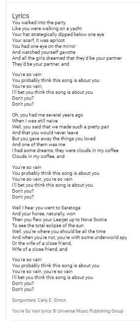 You're So Vain lyrics