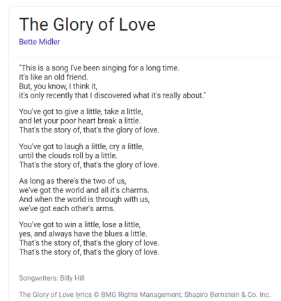 Glory of Love lyrics
