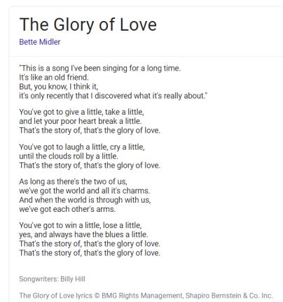Glory of Love lyrics