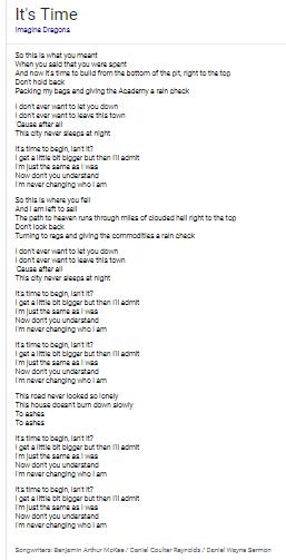 It's Time lyrics