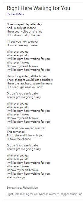 Right Here Waiting lyrics