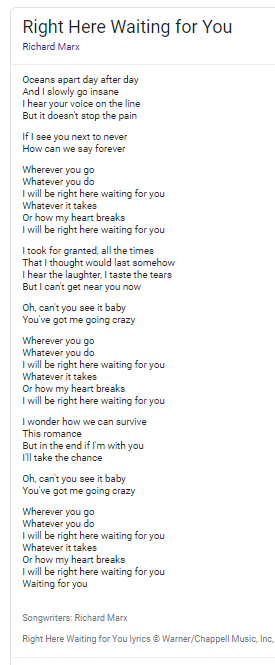 Right Here Waiting lyrics