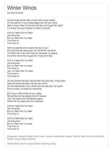 Winter winds lyrics