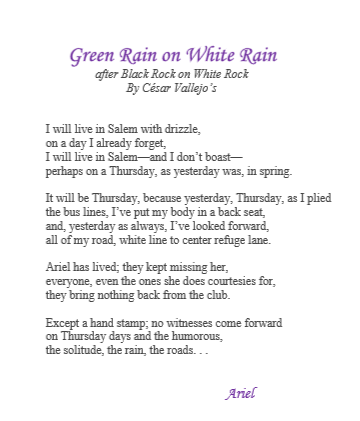 Green Rain on White Rain by Ariel