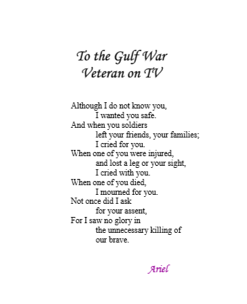 To the Gulf War Veteran on TV by Ariel