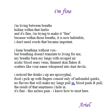 I'm fine  - poem by Ariel