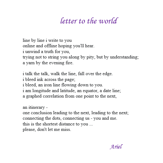 Letter To The World by Ariel