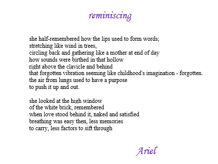 """Reminiscing"" by Ariel"